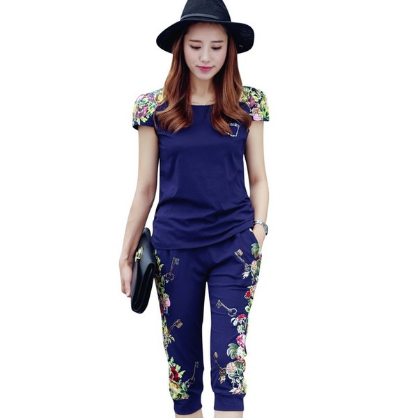 Fashion Flowers Printed Women Tracksuit Casual T -Shirts +Pants Lady Clothing Suit Size L -4xl China Style Summer Lady Sets