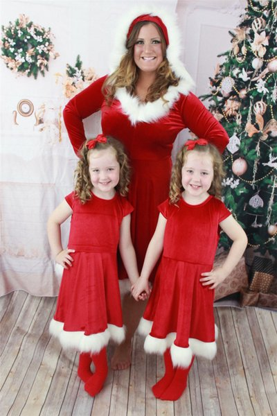 Mother Christmas.Newest Christmas Clothes Family Look Red Christmas Dresses Suits Pajamas Hot Sale Mother And Daughter Matching Christmas Dresses Costumes Mom Dad Baby