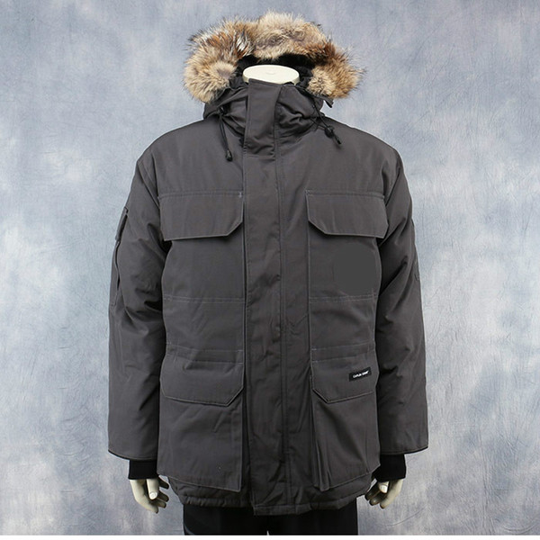Men Parkas WINTER CANADA EXPEDITION-1 GOOSE Down & Parkas WITH HOOD/Snowdome jacket Brand Real Raccoon Collar White Duck Outerwear & Coats