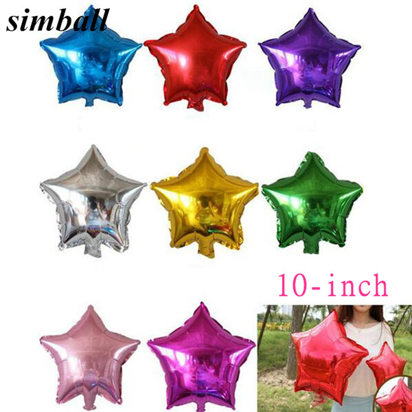 5pcs/lot 10inch Decoration Star/Heart Foil Helium Birthday Wedding Birthday Party Decoration Balloons
