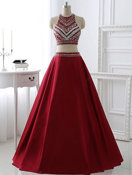 Hot Sale Two Pieces Prom Dresses Brilliant Red With Rhinestone Party Dresses Fashion Sashes A-Line Evening Party Prom Dresses DH1535