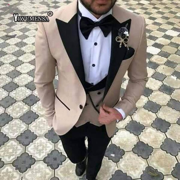 yiwumensa 2018 Three Pieces Men Suits Slim Fit Groom Suit Tuxedos Best Groomsmen Wedding Suit Men's Suits (jacket+pent+vest)