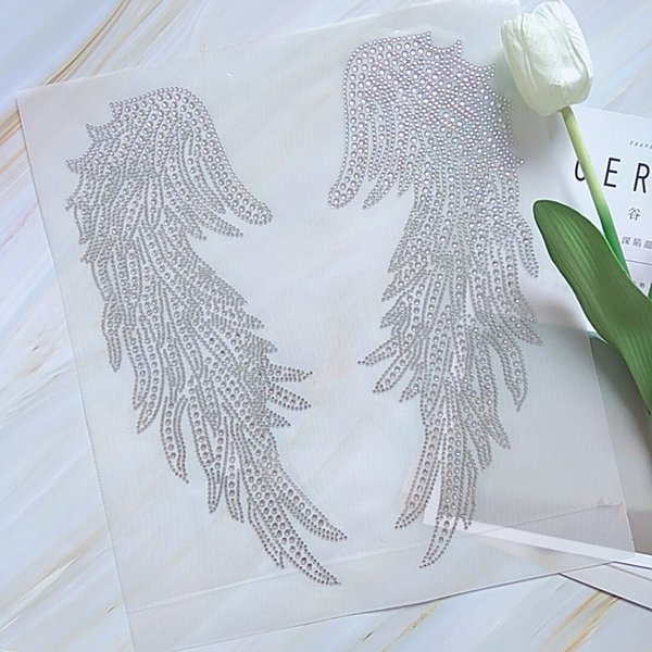 Elegance Fashion Crystal Wing Rhinestone Iron On Transfers Hotfix Motif For Tshirts