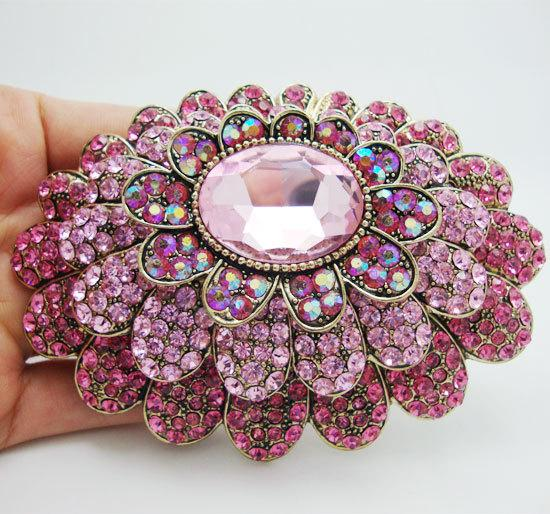 pins New Fashion Sweet Pink Multilevel Flower Rhinestone Crystal Gold-Tone Large Pin large brooch pins