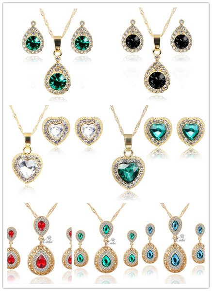 European and American jewelry set heart-shaped necklace earrings set drops of water zircon necklace exquisite fashion exquisite female