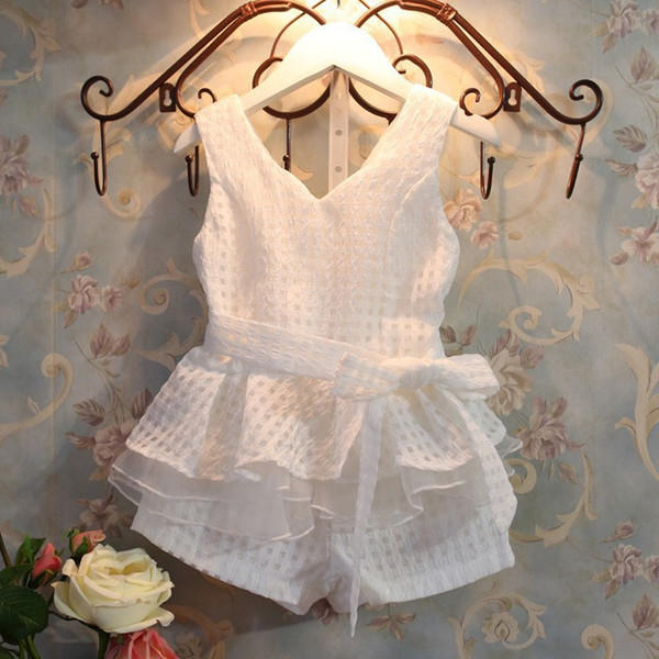 New girls clothes summer fashion children's vests set suit 2-7 years old children clothing for girl