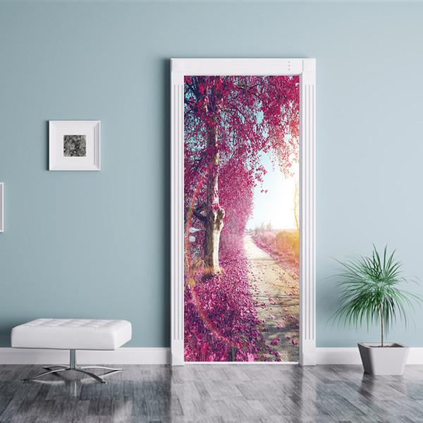 DIY 3D 77 * 200 cm 2 adet / takım Yaratıcı Romantik Güzel Gül Çiçek Kapı Sticker Duvar resmi Duvar Kağıdı Oturma Odası Dekorasyon su geçirmez Çıkartması