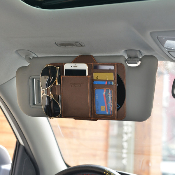 Car Interior CD Stowing Tidying Bag Genuine Leather Sunshade Storage Black Sun Vior Organizer for Mobile Glasses CD Cards