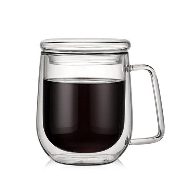 300ml Handmade Healthy Coffee Cups Stylish Heat-Resistant Borosilicate Insulated Double-Walled Glass Coffee Cup With Lid Handle