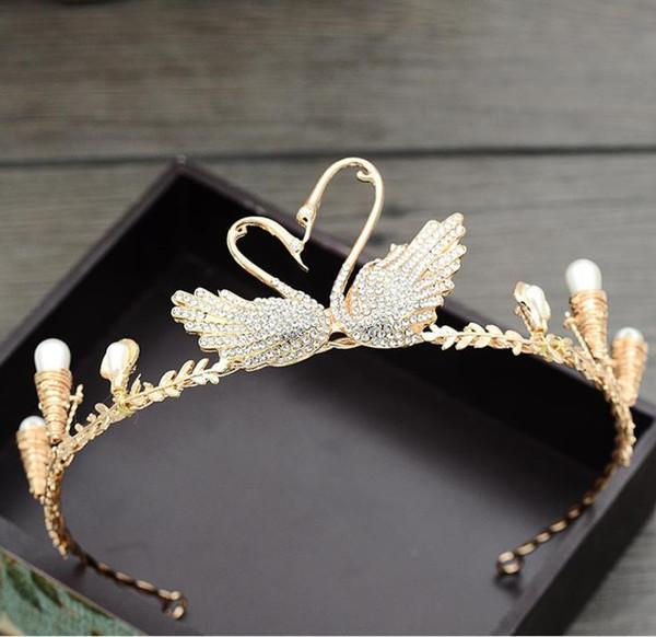 Bridal crown, golden swan headwear, diamond wedding headwear, wedding accessories, hair band, crown ornament.