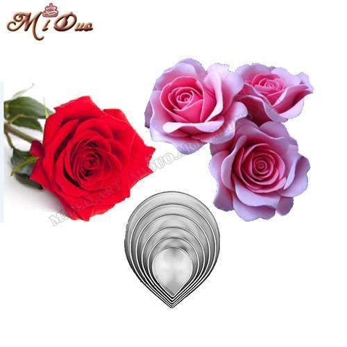 Wholesale- 6 Pcs Fondant Cake Decoration Rose cutter gum paste flower Cutter Stainless steel peony cutter Set