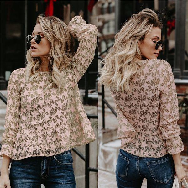 Women Lace Tops Blouse Sexy O Neck Shirt Long Sleeve Sweet Blouse Blusa