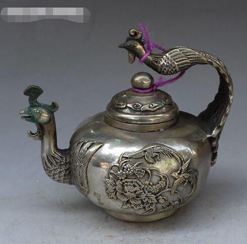 Chinesisches altes Tibet-Silberphönix-Statuendekorationskesselweintopf-Teekannemetallhandwerkgeschenkhauptdekoration