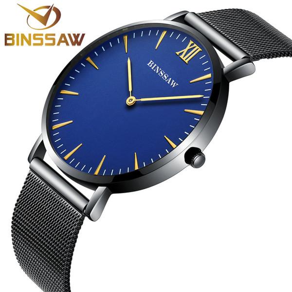 BINSSAW 2017 nuovo ultra-sottile uomo in acciaio inossidabile di lusso al quarzo marca orologio delicato contratto uomo d'affari orologio da polso zaffiro
