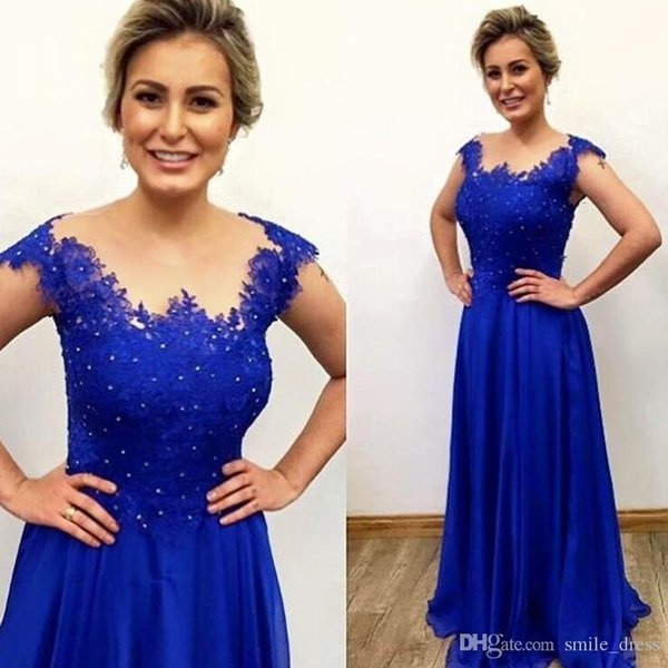 Royal Blue Evening Gown Long A Line Lace Appliques Beads Sheer Neck Formal Evening Prom Dresses Long Vestidos Festa SE124