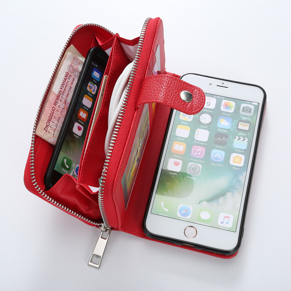 For iPhone XS MAX XR X 8 7 6 6S Plus Wallet PU Zipper Bag Purse Case for Samsung galaxy S9 S8 Plus S7 S6 Edge S5 Note 8 Handbag Cover
