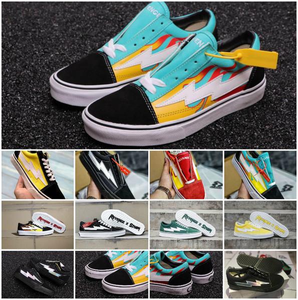 2018 New Revenge X Storm Old Skool Canvas Designer Sneakers Womens Men Low Cut Skateboard amarillo rojo azul blanco negro Casual zapatos