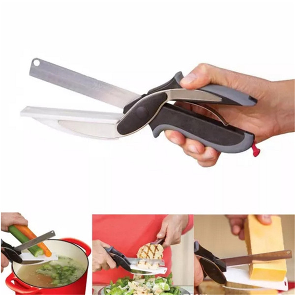 party supply New Magic NEW clever smart 2 in 1 utility cutter knife&board stainless steel cutter Meat Potato cheese vegetable multi-function
