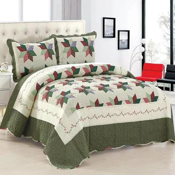 100% Baumwolle Tagesdecke Kissenbezüge Queen / King Size Patchwork Floral Bettdecke / Bettdecke Set