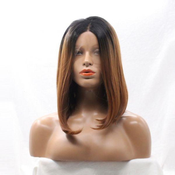 Ombre del frente del cordón peluca Bob peinados recto a prueba de calor sintética partida media corta sin cola frente pelucas para mujeres Negro de encaje