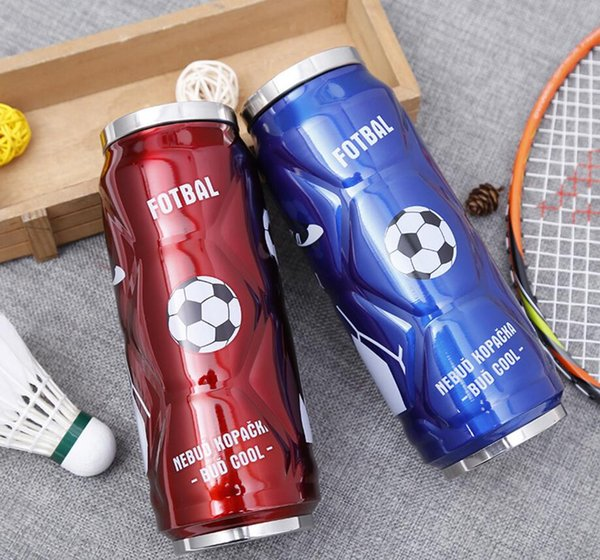 500ML Stainless Steel Football Cola Can Bottle Sport Vacuum Water Cup Insulated Mug With Pop-up Straw DDA748 Kids Cups
