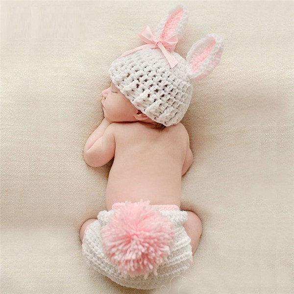 603cfab1b8855 2019 Newborn Baby Cute Crochet Knit Costume Prop Outfits Photo Photography  Baby Hat Photo Props New Born Girls Cute Outfit 0 12M From Universecp, ...