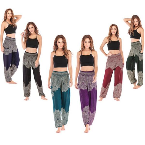 N-olsollo 6 Design 3D Mandalas Print Fitness Harem Pants High Waist Wide Leg Pants Bodybuilding Sporting Runs Casual Trousers
