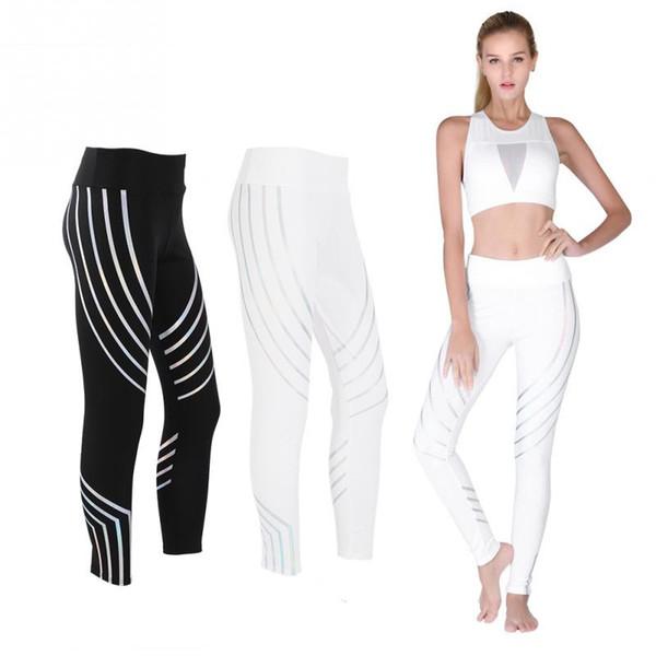 Yoga Pantaloni traspiranti ad asciugatura rapida Donne Fitness Pantaloni Sport Running Collant Compressione allenamento Yoga lunghe leggings indossando la parte