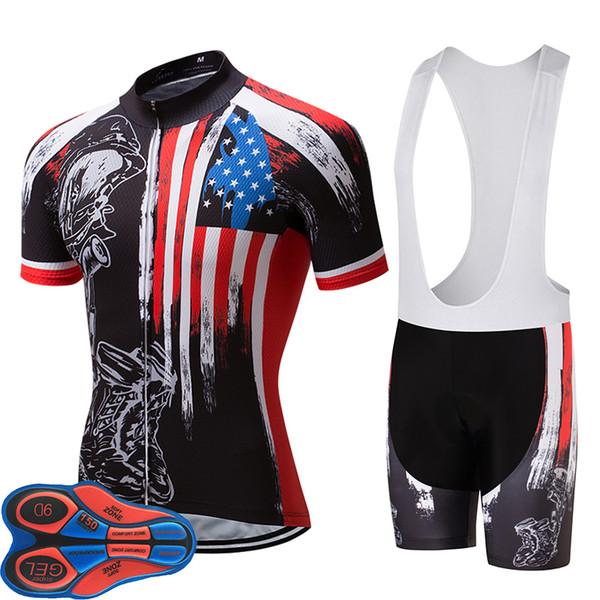 ABD Forması Tarzı Yaz Nefes Bisiklet Jersey Giyim Hızlı Kuru Bisiklet Formaları Seti ile 9D Jel Pad Amerikan Bayrağı Siyah