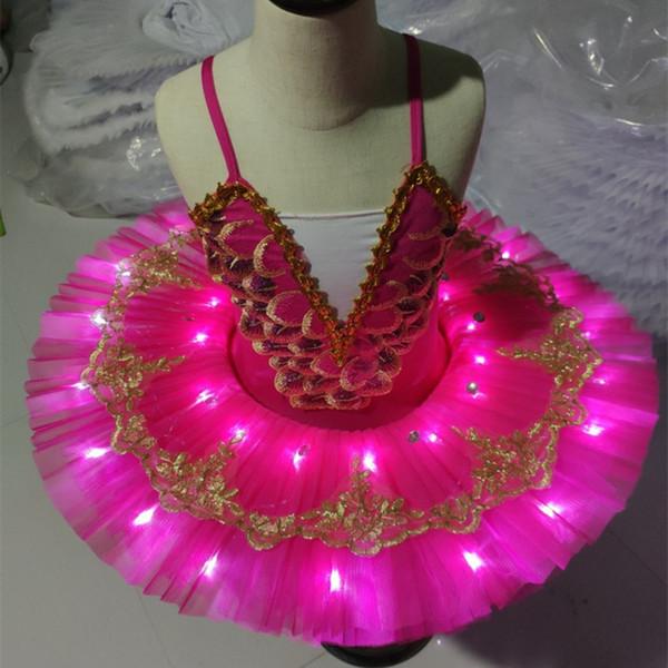 Professionnel Tutu LED Cygne Lac Panckae Classique Ballet Tutu Balett Robe Fille Halloween Enfants Costumes Ballerine Pour Enfants