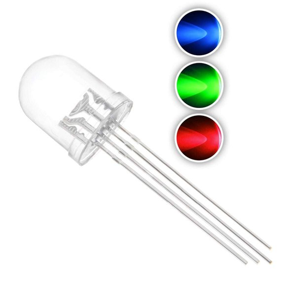 50 pcs 10mm RGB Tricolor LED Diode Lights (Multicolor Red Green Blue 4 pin Common Cathode Clear Round DC 20mA/Color) Lighting Bulb Lamps Ele