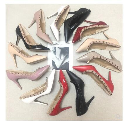 2018 new European and American spring and autumn Liu Ding rivet leather pointed shallow mouth with a single shoe patent leather high-heeled