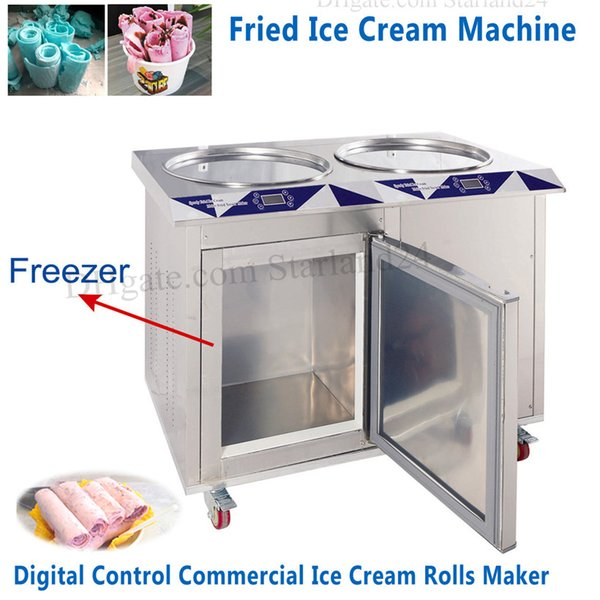 Electric Fried Ice Cream Machine 55cm Double Pans Commercial Ice Yogurt Roll Maker with Built-in Freezer Digital Control