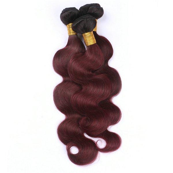 Black and Burgundy 2Tone Ombre Brazilian Virgin Human Hair Weave Bundles Body Wave 3Pcs #1B/99J Wine Red Ombre Human Hair Extensions