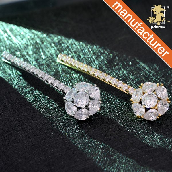Scarecrow new hair accessories Ms. water drop crystal hairpin with diamond side clip boutique shop word bangs hairpin