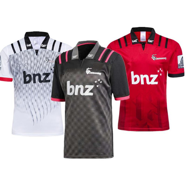 Großhandel 2018 2019 CRUSADERS Super Rugby Training Trikot Neuseeland Super Rugby Union Crusaders Hochtemperatur Trikot Shirts Größe S M L XL XXL 3XL