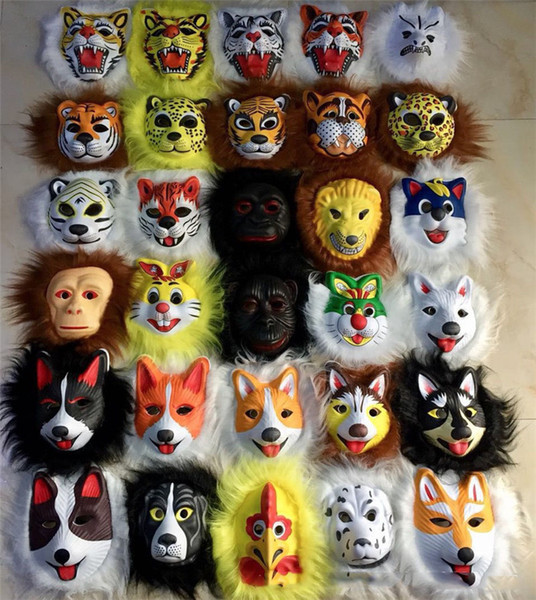 Plush Animal Mask Lion Leopard Fox Dog Tiger EVA Masks Children Halloween Costumes Mask For Kids Halloween Party Toys Gift 28 Colors