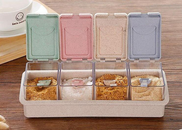 4PCS Colorful Kitchen Herb Spice Box Condimento Salsa Scatola di plastica stagionatura Barattoli di cucina Condimen Storage Bottles