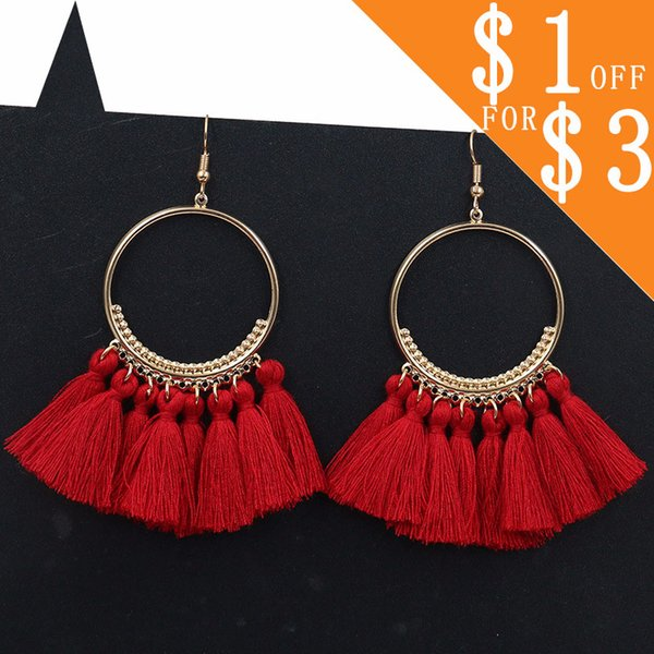 Weihnachtsschmuck Creolen Tassle Quaste Ohrringe Drop Fringe Ohrringe Brincos Orecchini Ohrringe Ohrringe für Frauen CS02
