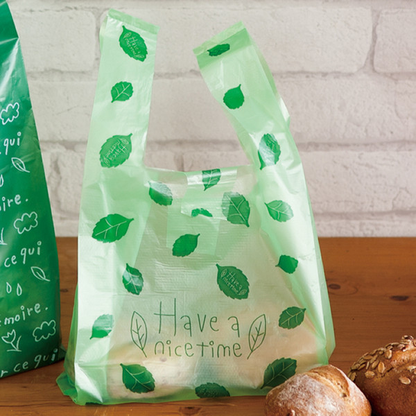 Green leaves Plastic Gift Bags, Plastic shopping bags 100pcs/lot