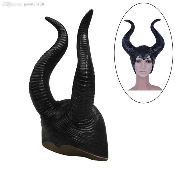 Fashion Nice Trendy Genuine Latex Maleficent Horns Adult Women Halloween Party Costume Jolie Cosplay Headpiece Hat Anime Vampire Costume Resident Evil