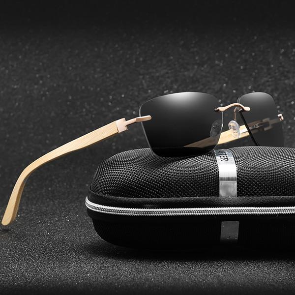 LongKeeper New 100% Bambu Quadrado Óculos De Sol Das Mulheres HD Polarizada  Sem Aro Óculos 96783cb86e