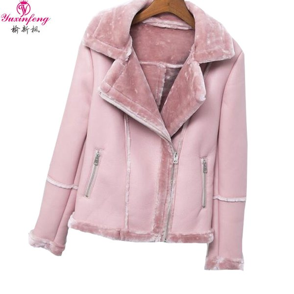 2019 NEW Yuxinfeng 2018 Winter Suede Leather Jacket for Women Zipper Thick Warm Lamb Wool Coat Motorcycle Jacket Warm outwear Casual