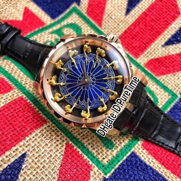 Новый Excalibur 45 RDDBEX0495 розовое золото 18 к желтое золото рыцари круглый стол синий эмаль циферблат автоматические мужские часы черный кожаный B42h8