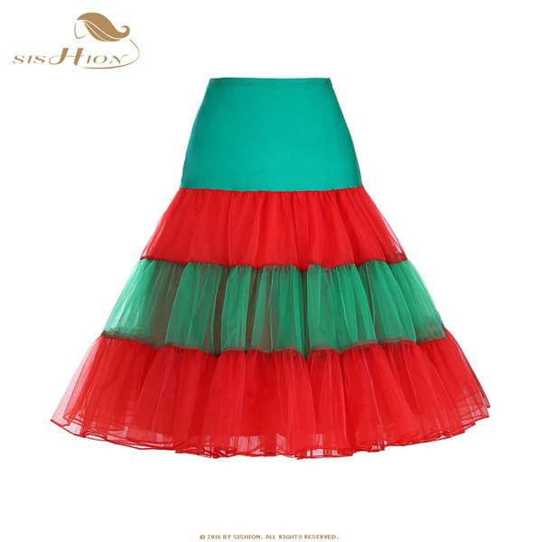 920e7a0b5188 Großhandel SISHION Weihnachten Tutu Rock Vintage Petticoat Weiß Rot Grün  Frauen Damen Tüll Röcke Organza Party Rock Unterrock VD0659N Von My06, ...