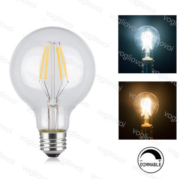 Dimmable Lights G80 Filament Candle Light Bulb 2w 4w 6w E27 Led Bulbs Light High Bright Clear Glass Led Lamp Edison Dhl E12 Led Bulb E11 Led Bulb From