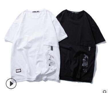 Европа и Соединенные Штаты 2018 Новое Лето мужская футболка шею большой размер плюс удобрения для увеличения прилив бренд мужская футболка прилив