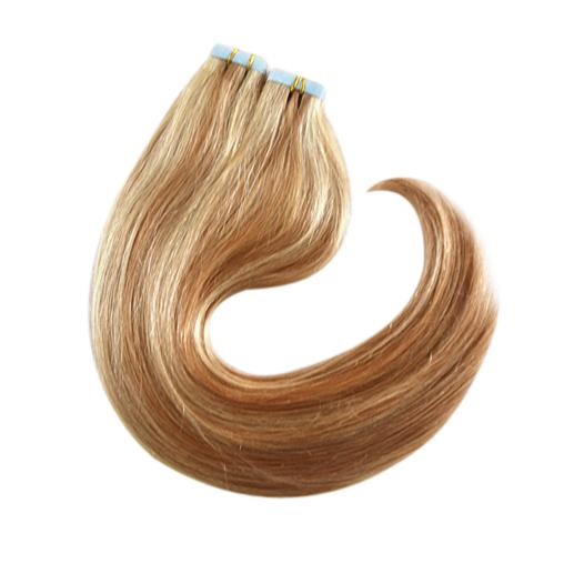 Factory Wholesale Price 100g Tape in Remy Human Hair Strawberry Blonde Mixed Color Tape on Highlighted Color Human Hair Extension P12/613
