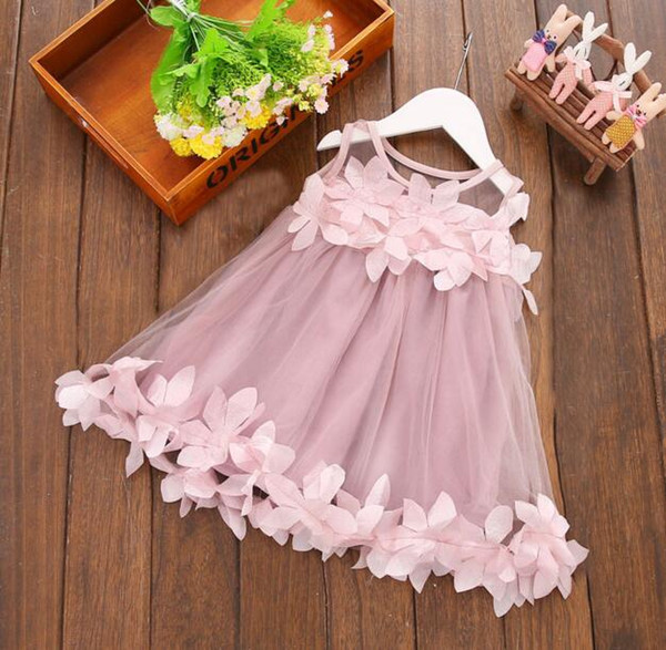 ¡Gran venta! 2018 New Summer Toddler Kids Baby Girls Clothes Pink Flowers Vestido formal sin mangas del vestido del partido