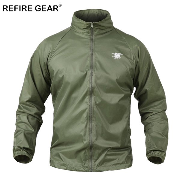 ReFire Gear Summer Camouflage Hunting Tactical Jacket Men Thin Waterproof Military Windbreaker Jacket Sun Protective Army Jacket Y1893006